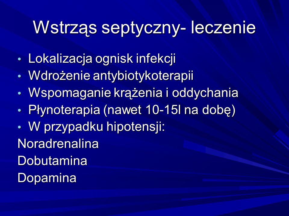 Wstrząs septyczny- leczenie Lokalizacja ognisk infekcji Lokalizacja ognisk infekcji Wdrożenie antybiotykoterapii Wdrożenie antybiotykoterapii Wspomaga