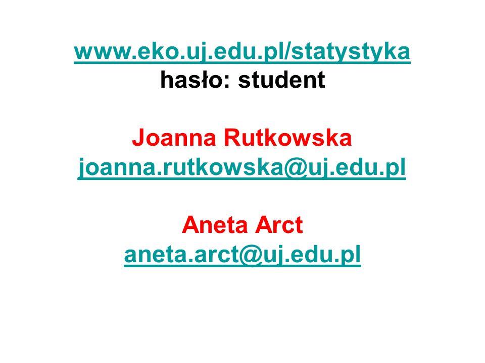 www.eko.uj.edu.pl/statystyka hasło: student Joanna Rutkowska joanna.rutkowska@uj.edu.pl Aneta Arct aneta.arct@uj.edu.pl