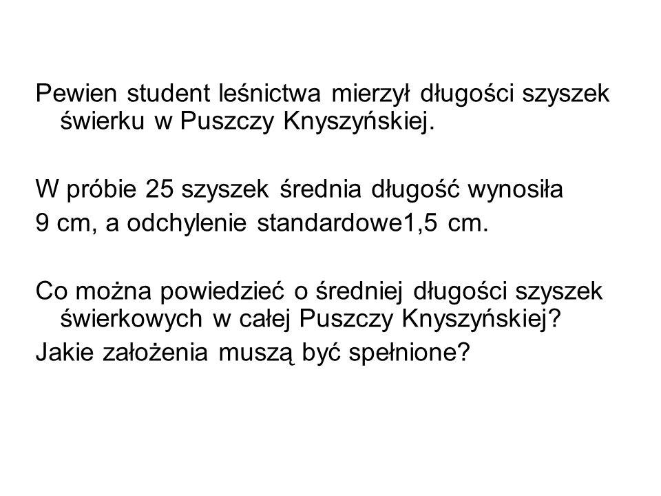 Pewien student leśnictwa mierzył długości szyszek świerku w Puszczy Knyszyńskiej. W próbie 25 szyszek średnia długość wynosiła 9 cm, a odchylenie stan