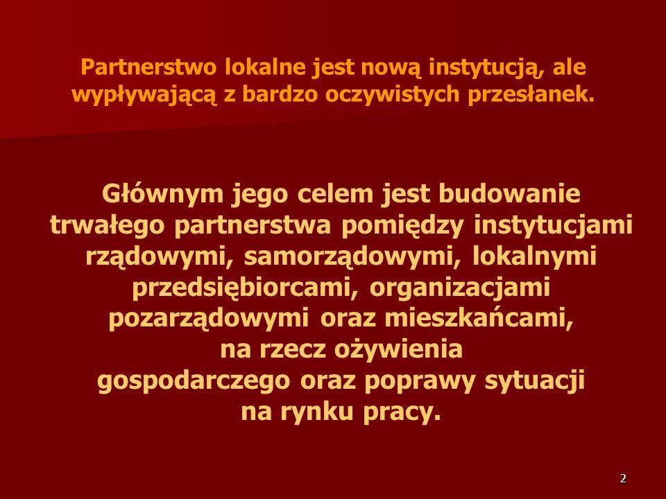 2 Głównym jego celem jest budowanie trwałego partnerstwa pomiędzy instytucjami rządowymi, samorządowymi, lokalnymi przedsiębiorcami, organizacjami poz