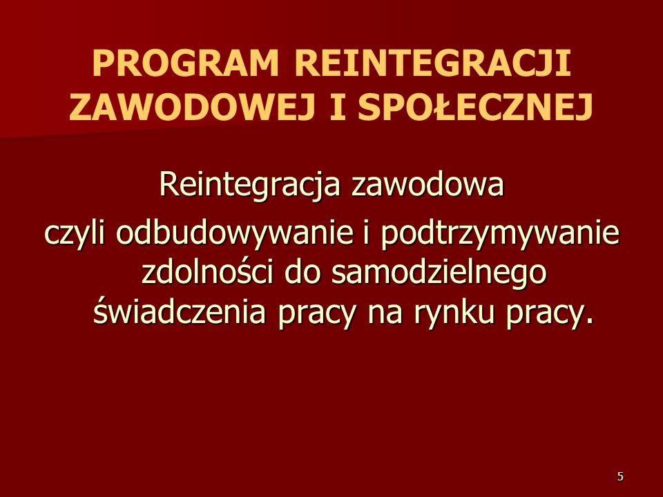 5 PROGRAM REINTEGRACJI ZAWODOWEJ I SPOŁECZNEJ Reintegracja zawodowa czyli odbudowywanie i podtrzymywanie zdolności do samodzielnego świadczenia pracy na rynku pracy.