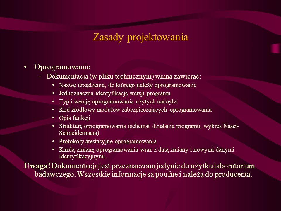 Zasady projektowania Oprogramowanie –Dokumentacja (w pliku technicznym) winna zawierać: Nazwę urządzenia, do którego należy oprogramowanie Jednoznaczn