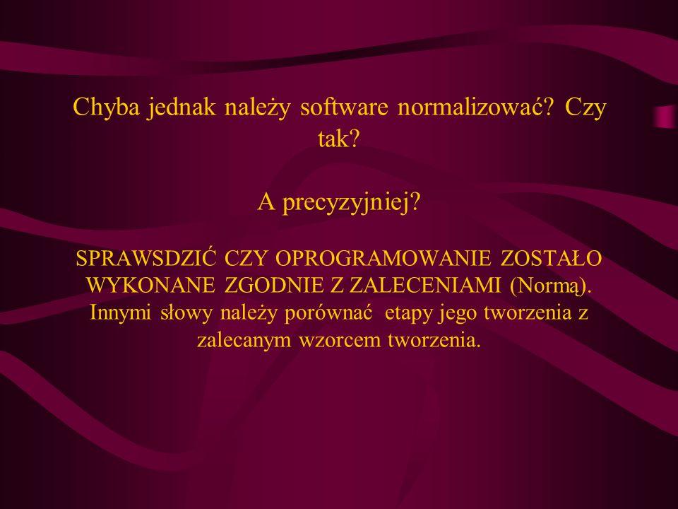 Chyba jednak należy software normalizować? Czy tak? A precyzyjniej? SPRAWSDZIĆ CZY OPROGRAMOWANIE ZOSTAŁO WYKONANE ZGODNIE Z ZALECENIAMI (Normą). Inny