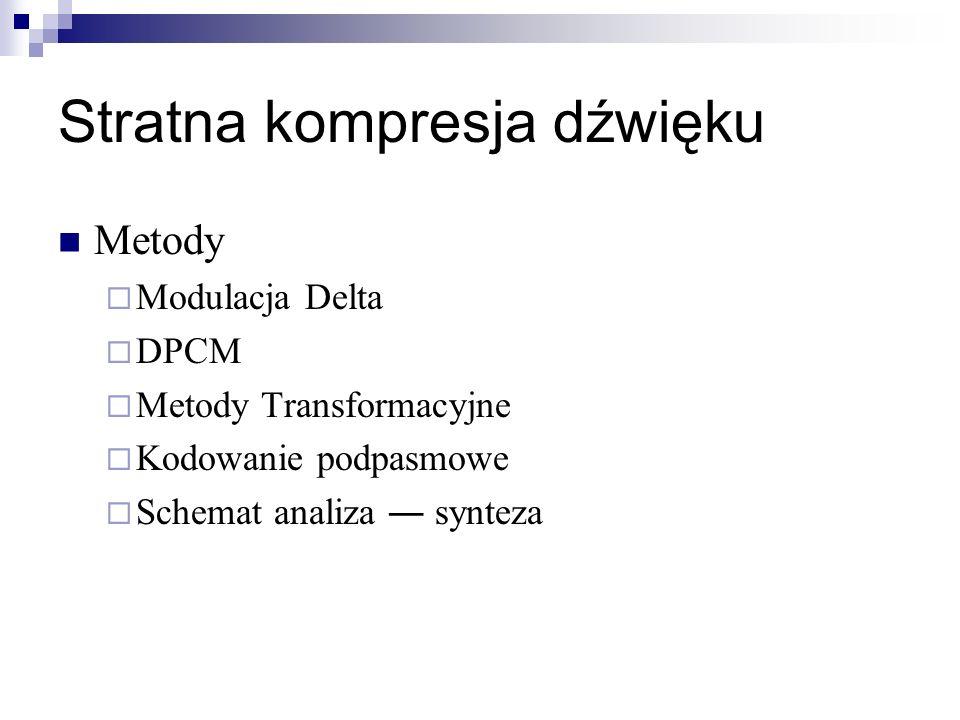 Stratna kompresja dźwięku Metody Modulacja Delta DPCM Metody Transformacyjne Kodowanie podpasmowe Schemat analiza synteza