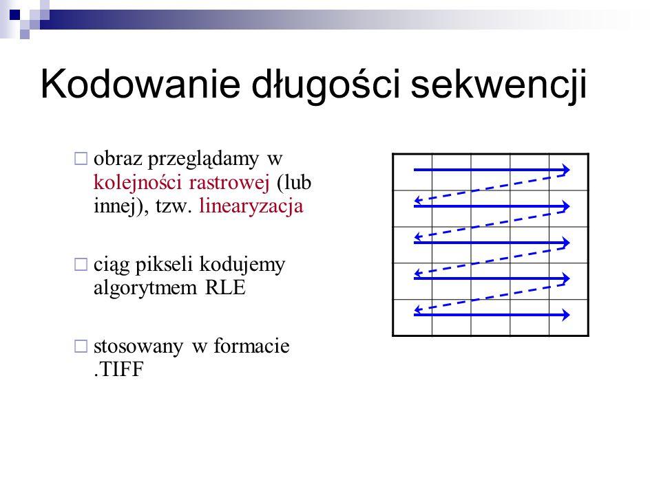 Kodowanie długości sekwencji obraz przeglądamy w kolejności rastrowej (lub innej), tzw. linearyzacja ciąg pikseli kodujemy algorytmem RLE stosowany w