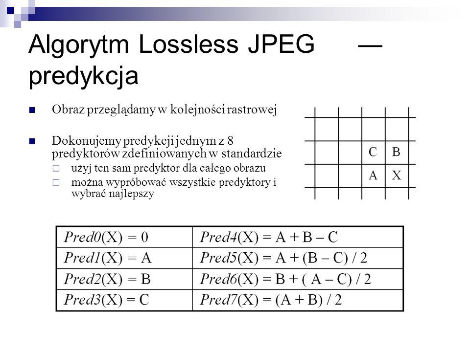 Algorytm Lossless JPEG predykcja Obraz przeglądamy w kolejności rastrowej Dokonujemy predykcji jednym z 8 predyktorów zdefiniowanych w standardzie uży