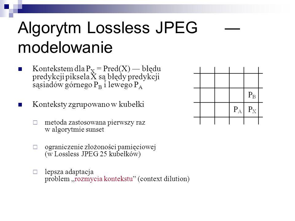 Algorytm Lossless JPEG modelowanie Kontekstem dla P X = Pred(X) błędu predykcji piksela X są błędy predykcji sąsiadów górnego P B i lewego P A Konteks