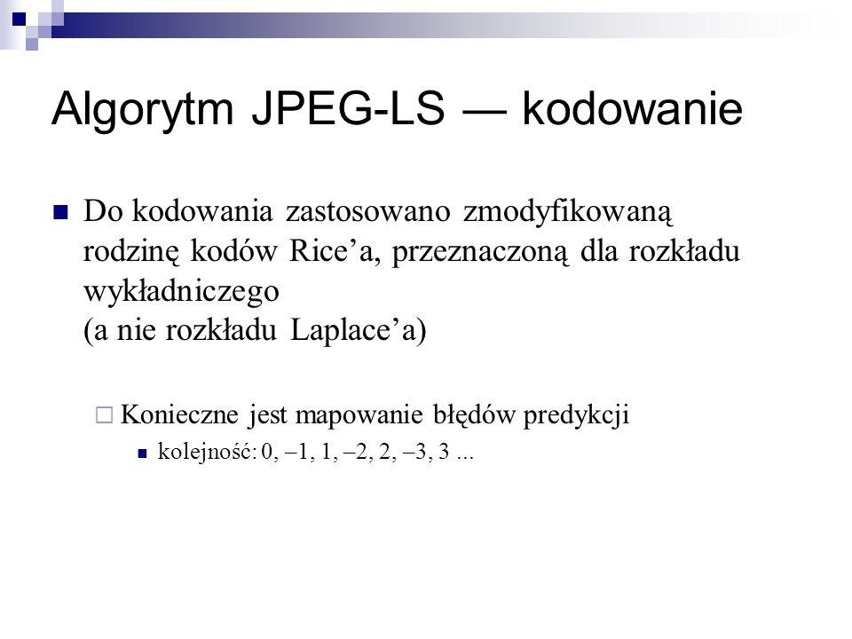 Algorytm JPEG-LS kodowanie Do kodowania zastosowano zmodyfikowaną rodzinę kodów Ricea, przeznaczoną dla rozkładu wykładniczego (a nie rozkładu Laplace