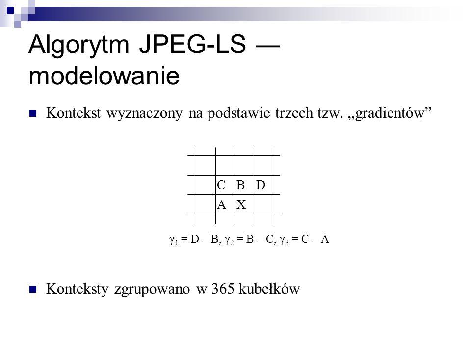 Algorytm JPEG-LS modelowanie Kontekst wyznaczony na podstawie trzech tzw. gradientów γ 1 = D – B, γ 2 = B – C, γ 3 = C – A Konteksty zgrupowano w 365