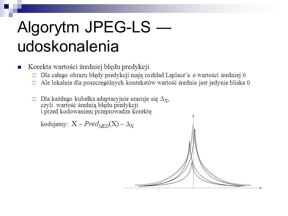 Algorytm JPEG-LS udoskonalenia Korekta wartości średniej błędu predykcji Dla całego obrazu błędy predykcji mają rozkład Laplacea o wartości średniej 0