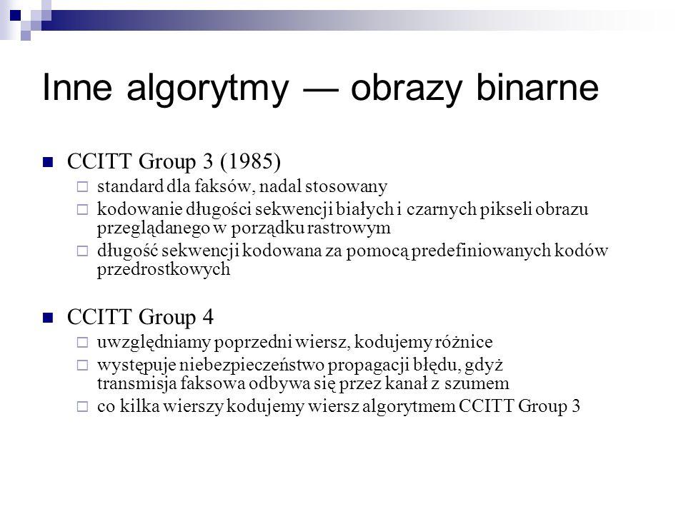 Inne algorytmy obrazy binarne CCITT Group 3 (1985) standard dla faksów, nadal stosowany kodowanie długości sekwencji białych i czarnych pikseli obrazu
