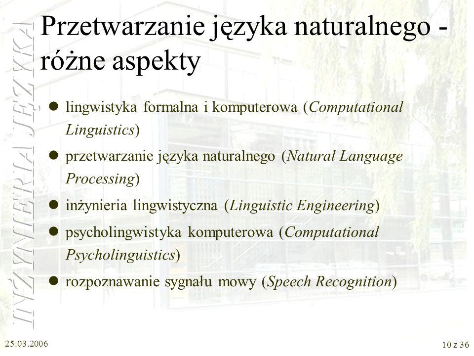 25.03.2006 9 z 36 Elementy terminologii NLP (Natural Language Processing) – przetwarzanie języka naturalnego Kompetencja językowa (kompetencja komunik