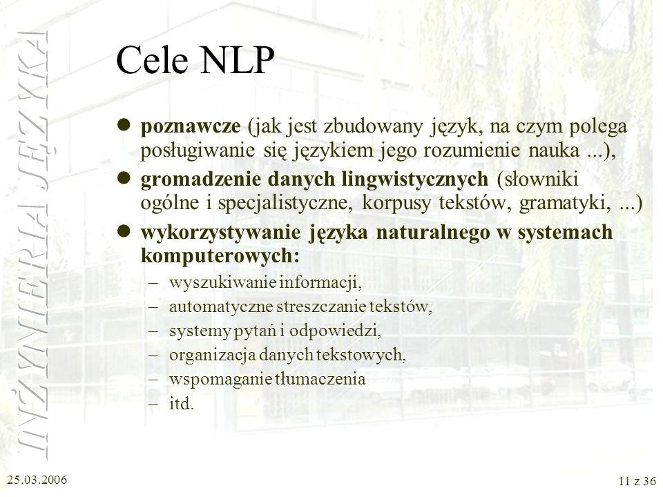 25.03.2006 10 z 36 Przetwarzanie języka naturalnego - różne aspekty lingwistyka formalna i komputerowa (Computational Linguistics) przetwarzanie język