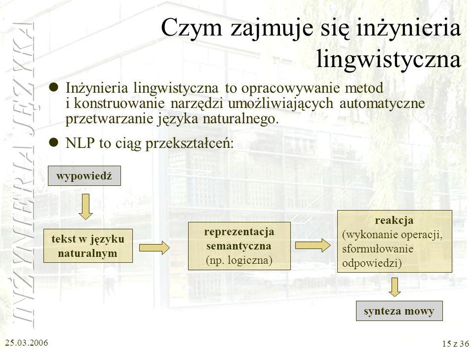 25.03.2006 14 z 36 Gdzie jest potrzebna lingwistyka komputerowa (2) Dialog z komputerem w języku naturalnym Przetwarzanie języka mówionego czy migoweg