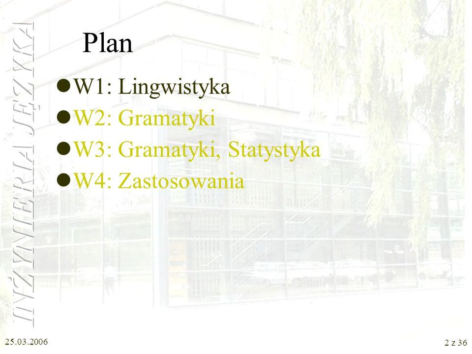 W1: Lingwistyka Inżynieria Języka Nina Suszczańska, Politechnika Śląska, 2006