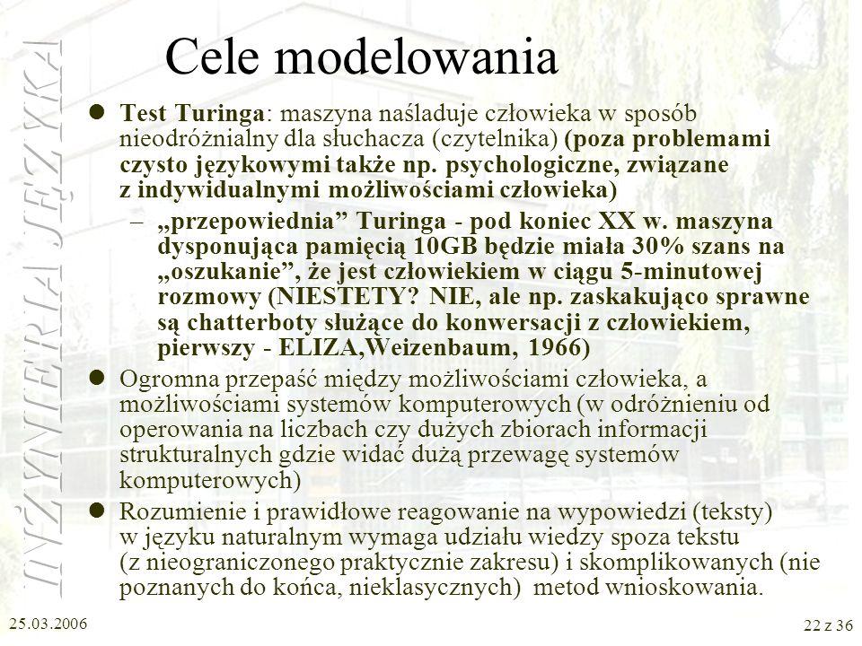 25.03.2006 21 z 36 Zadania inżyniera języka (2) Użytkownik – uczy się obcować się z komputerem Lingwista-teoretyk szlifuje opisy poszczególnych zjawis