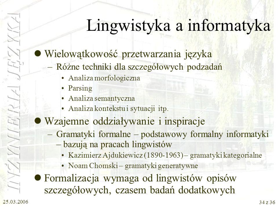 25.03.2006 33 z 36 Informatyczno-technologiczne prace w Polsce (2) Formalizm HPSG (Head-driven Phrase Structure Grammar) –Leonard Bolc –Adam Przepiork