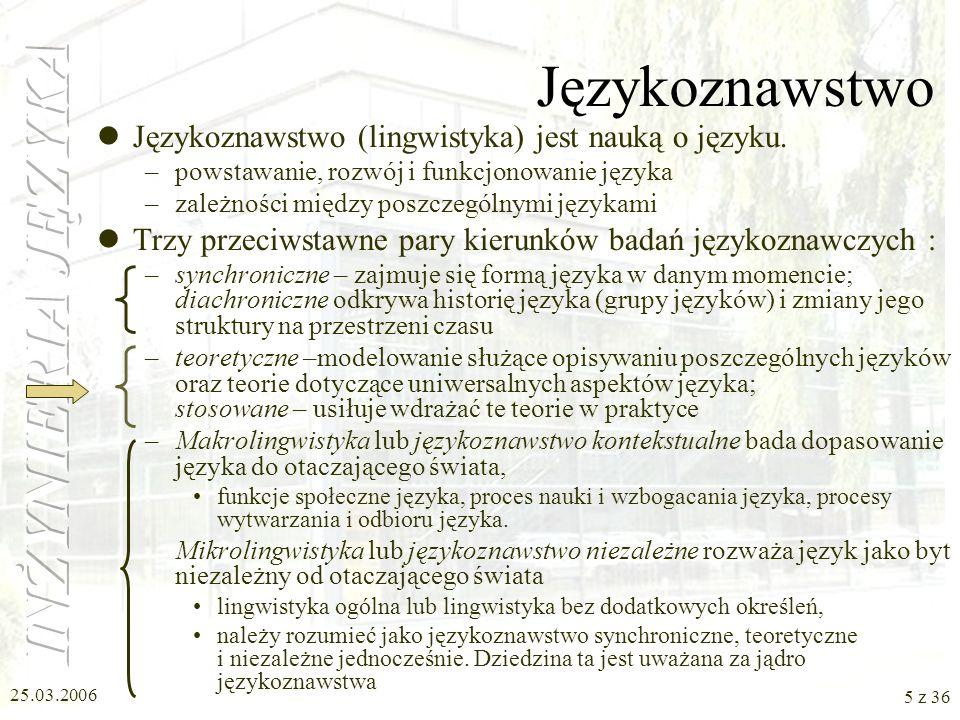 25.03.2006 4 z 36 Literatura Zygmunt Vetulani, Komunikacja człowieka z maszyną. Komputerowe modelowanie kompetencji językowej. Warszawa 2004, Akademic