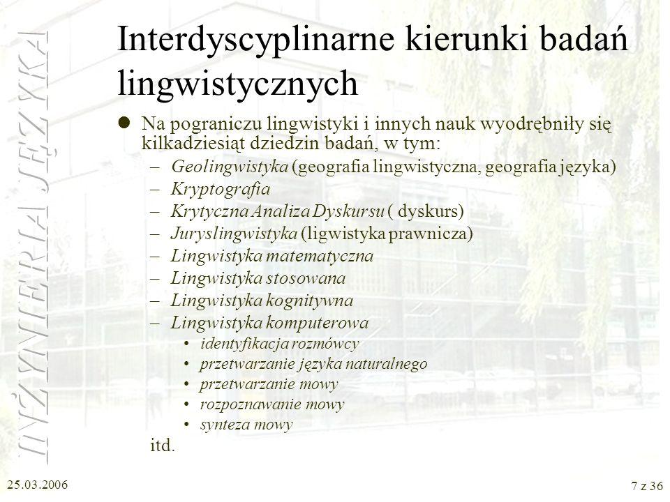 25.03.2006 6 z 36 Działy językoznawstwa Językoznawstwo zajmuje się wszelkimi aspektami języka i zawiera w sobie liczne działy. Należą do nich między i
