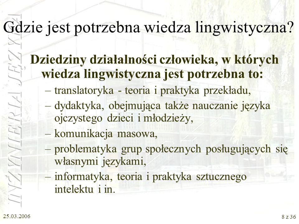 25.03.2006 7 z 36 Interdyscyplinarne kierunki badań lingwistycznych Na pograniczu lingwistyki i innych nauk wyodrębniły się kilkadziesiąt dziedzin bad