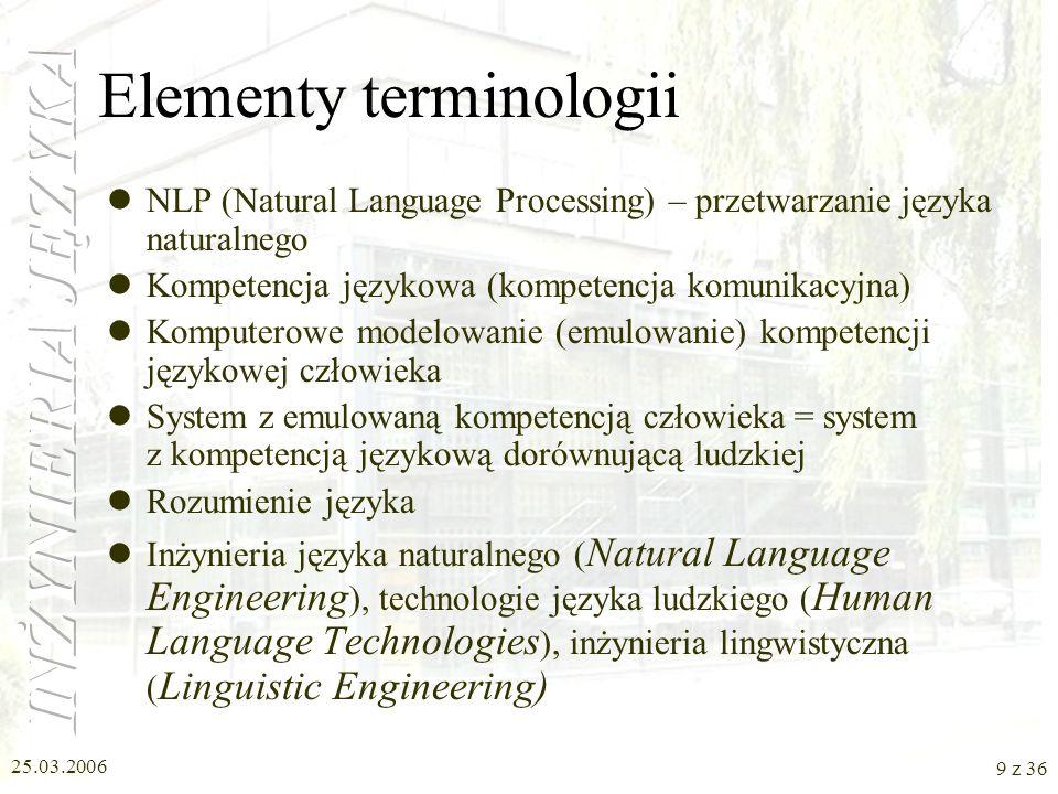 25.03.2006 8 z 36 Gdzie jest potrzebna wiedza lingwistyczna? Dziedziny działalności człowieka, w których wiedza lingwistyczna jest potrzebna to: –tran
