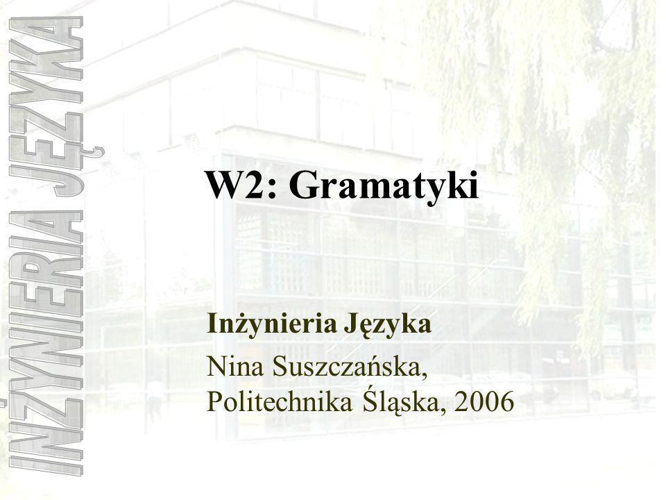 W2: Gramatyki Inżynieria Języka Nina Suszczańska, Politechnika Śląska, 2006