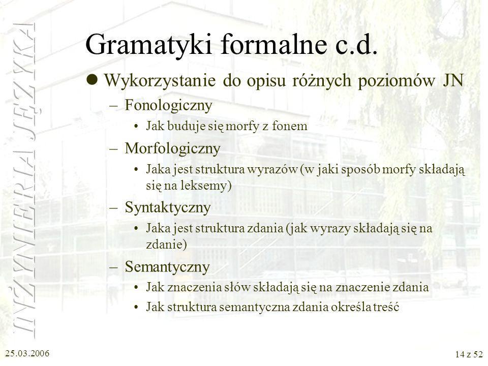25.03.2006 14 z 52 Gramatyki formalne c.d. Wykorzystanie do opisu różnych poziomów JN –Fonologiczny Jak buduje się morfy z fonem –Morfologiczny Jaka j