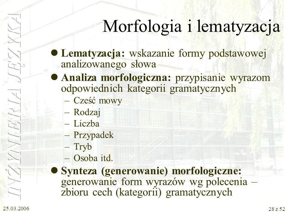 25.03.2006 28 z 52 Morfologia i lematyzacja Lematyzacja: wskazanie formy podstawowej analizowanego słowa Analiza morfologiczna: przypisanie wyrazom od
