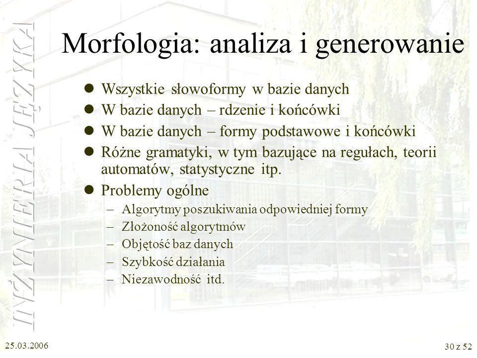 25.03.2006 30 z 52 Morfologia: analiza i generowanie Wszystkie słowoformy w bazie danych W bazie danych – rdzenie i końcówki W bazie danych – formy po