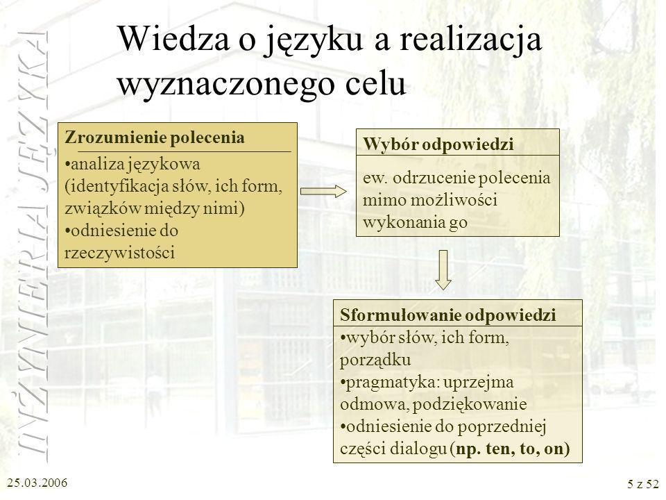 25.03.2006 5 z 52 Zrozumienie polecenia analiza językowa (identyfikacja słów, ich form, związków między nimi) odniesienie do rzeczywistości Wiedza o j