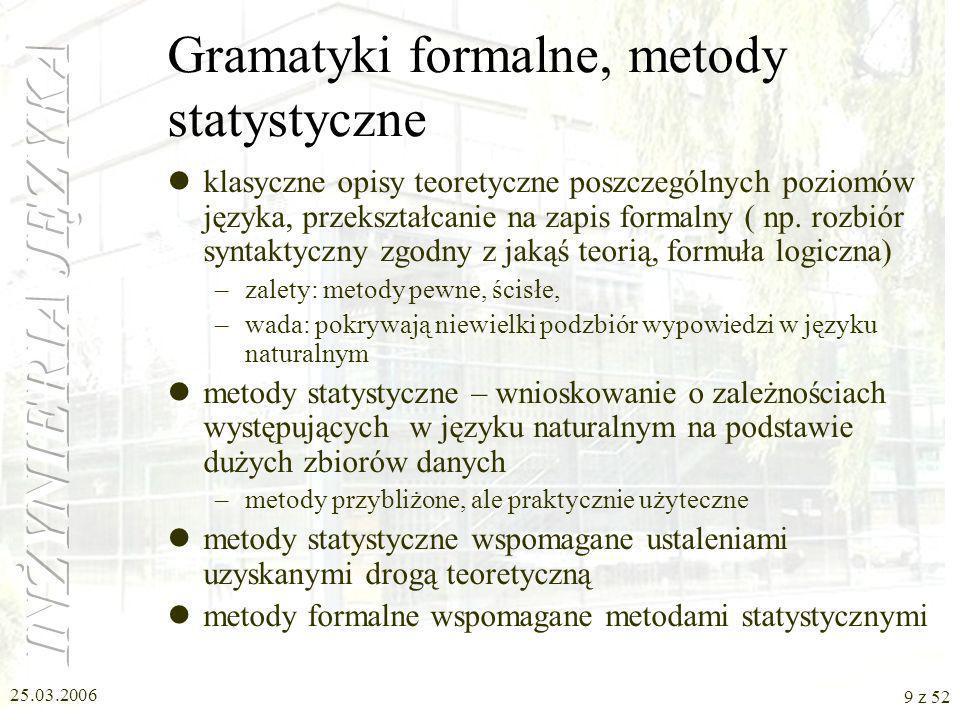 25.03.2006 20 z 52 Słowa – cechy gramatyczne (3) rodzaj [gender] propozycja szkolna męski (masc), żeński(fem), nijaki (neut), męskoosobowy (hum-masc), niemęskoosobowy (nonhum-masc) rodzaj [gender] propozycja formalna hum-mascm1(facet, lekarze) anim-mascm2(kot, robaki) inanim-mascm3(stół, ołówki) femf(kobieta, żyrafa, książki) neut-humn1(dziecko, dzieci) neut-nonhumn2(okno, futra)