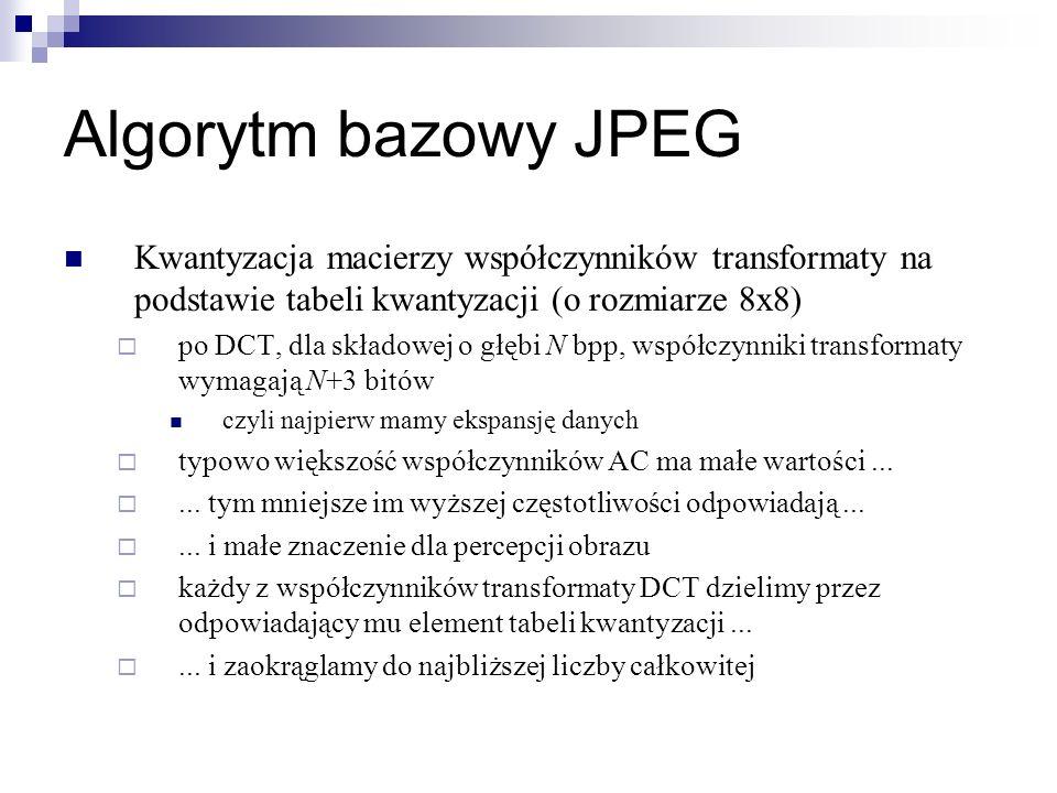 Algorytm bazowy JPEG Kwantyzacja macierzy współczynników transformaty na podstawie tabeli kwantyzacji (o rozmiarze 8x8) po DCT, dla składowej o głębi