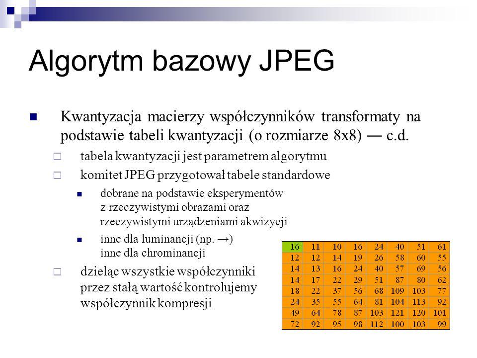 Algorytm bazowy JPEG Kwantyzacja macierzy współczynników transformaty na podstawie tabeli kwantyzacji (o rozmiarze 8x8) c.d. tabela kwantyzacji jest p