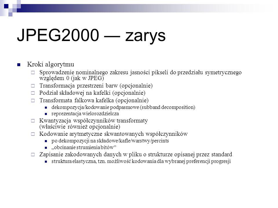JPEG2000 zarys Kroki algorytmu Sprowadzenie nominalnego zakresu jasności pikseli do przedziału symetrycznego względem 0 (jak w JPEG) Transformacja prz