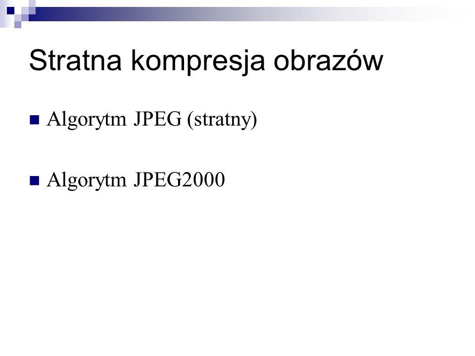 Stratna kompresja obrazów Algorytm JPEG (stratny) Algorytm JPEG2000