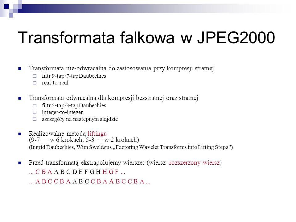 Transformata falkowa w JPEG2000 Transformata nie-odwracalna do zastosowania przy kompresji stratnej filtr 9-tap/7-tap Daubechies real-to-real Transfor