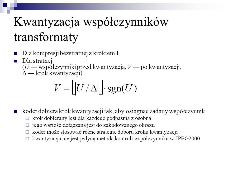 Kwantyzacja współczynników transformaty Dla kompresji bezstratnej z krokiem 1 Dla stratnej (U współczynniki przed kwantyzacją, V po kwantyzacji, Δ kro