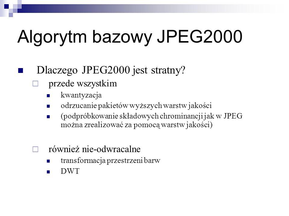 Algorytm bazowy JPEG2000 Dlaczego JPEG2000 jest stratny? przede wszystkim kwantyzacja odrzucanie pakietów wyższych warstw jakości (podpróbkowanie skła
