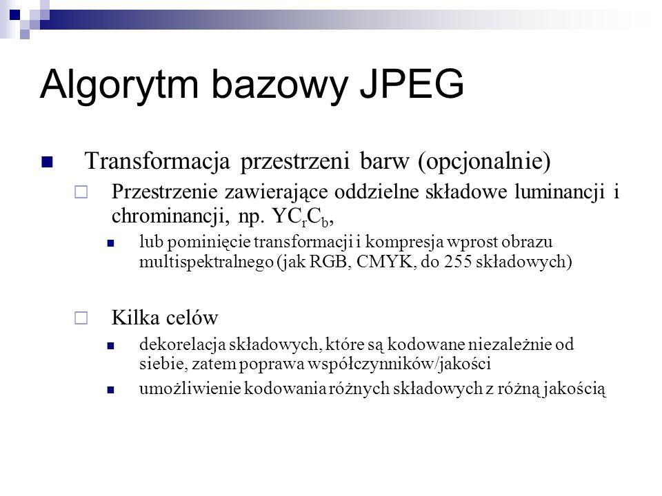 Algorytm bazowy JPEG Transformacja przestrzeni barw (opcjonalnie) Przestrzenie zawierające oddzielne składowe luminancji i chrominancji, np. YC r C b,