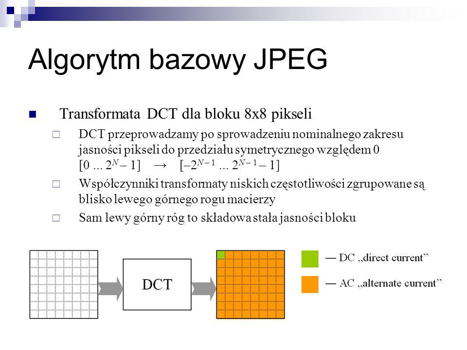 Algorytm bazowy JPEG Transformata DCT dla bloku 8x8 pikseli DCT przeprowadzamy po sprowadzeniu nominalnego zakresu jasności pikseli do przedziału syme