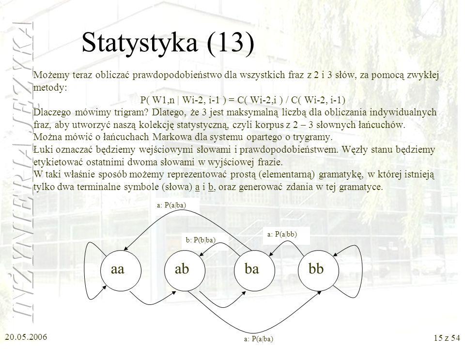 20.05.2006 14 z 54 Statystyka (12) Mówiliśmy o prawdopodobieństwie wystąpienia ciągu dwóch słów przed danym słowem. Wróćmy do wzoru: P( W 1,n ) = P( W
