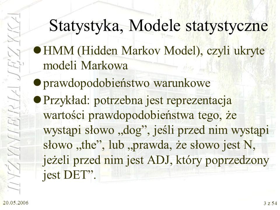 20.05.2006 2 z 54 Plan W1: Lingwistyka W2: Gramatyki W3: Składnia, Semantyka W4: Statystyka, Zastosowania