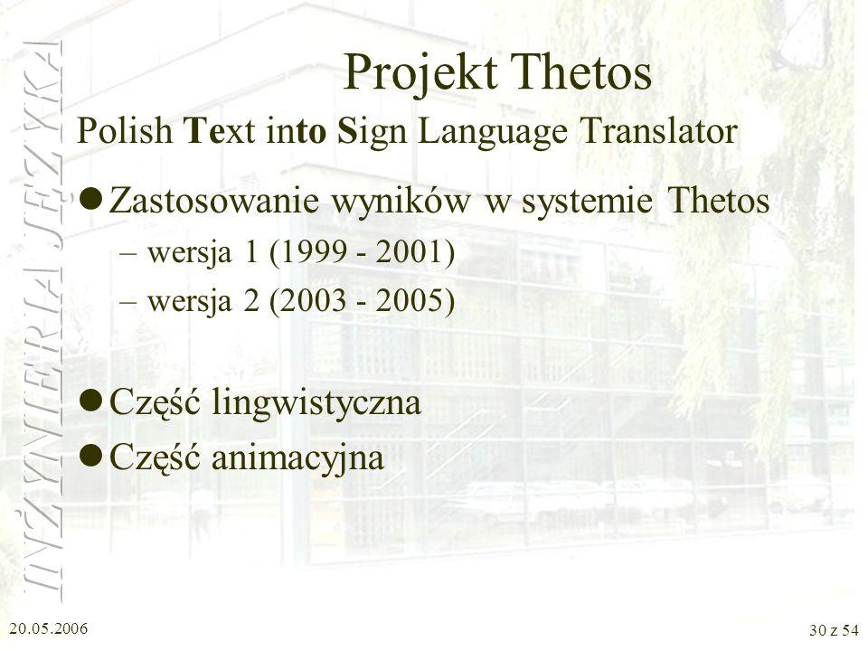 20.05.2006 29 z 54 Modelowanie tekstu Na potrzeby Thetosa i Polsumm Podział zdań złożonych na pojedyncze Rekonstrukcja strukturalnej i leksykalnej peł