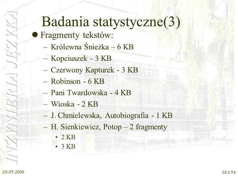 20.05.2006 37 z 54 Badania statystyczne(2) Postać raportu: –Liczba anafor: 6 (Chm-Aut) –odległość maksymalna: 3 –odległość minimalna: 1 –odległość śre