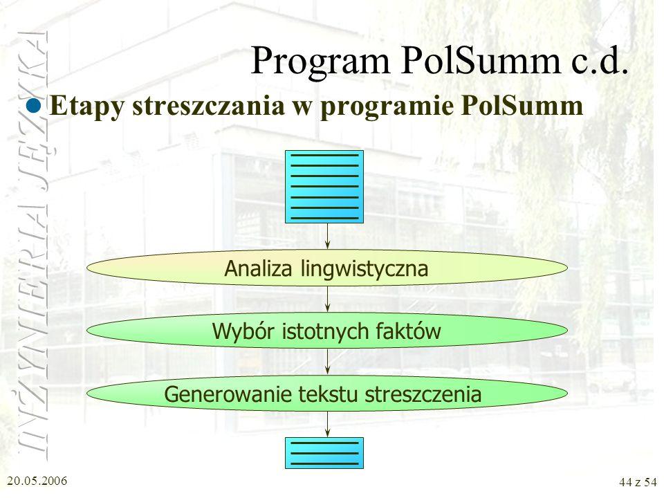 20.05.2006 43 z 54 Program PolSumm Program streszczania tekstów Metody statystyczne Metody lingwistyczne –Analiza składniowa, semantyczna –Metoda domi