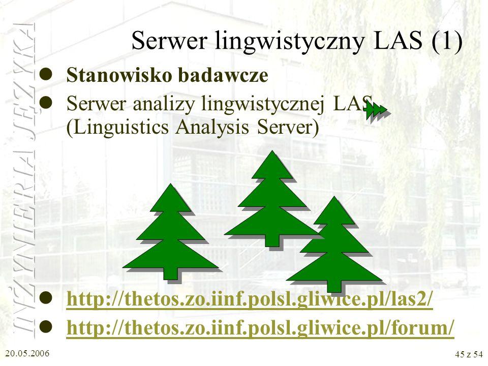 20.05.2006 44 z 54 Program PolSumm c.d. Etapy streszczania w programie PolSumm Wybór istotnych faktów Generowanie tekstu streszczenia Analiza lingwist