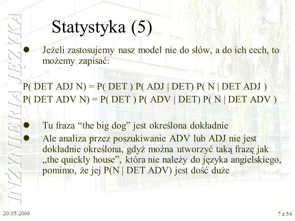 20.05.2006 6 z 54 Statystyka (4) Załóżmy, że chcemy obliczyć prawdopodobieństwo dla rozpoznania frazy the big dog. Modele statystyczne mogą obliczać i