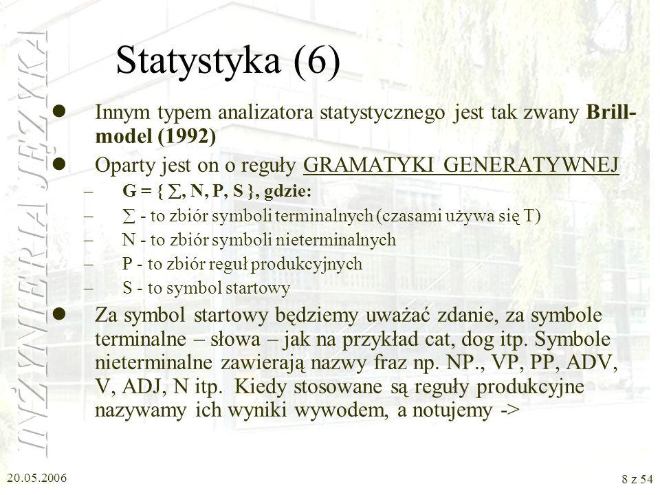20.05.2006 7 z 54 Statystyka (5) Jeżeli zastosujemy nasz model nie do słów, a do ich cech, to możemy zapisać: P( DET ADJ N) = P( DET ) P( ADJ | DET) P