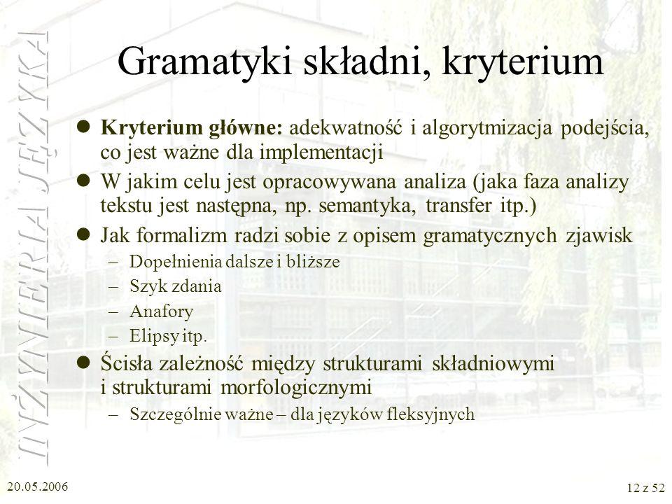20.05.2006 12 z 52 Gramatyki składni, kryterium Kryterium główne: adekwatność i algorytmizacja podejścia, co jest ważne dla implementacji W jakim celu
