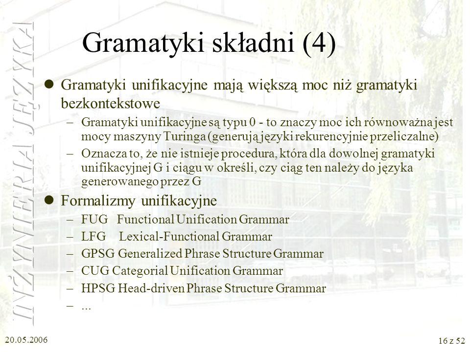 20.05.2006 16 z 52 Gramatyki składni (4) Gramatyki unifikacyjne mają większą moc niż gramatyki bezkontekstowe –Gramatyki unifikacyjne są typu 0 - to z